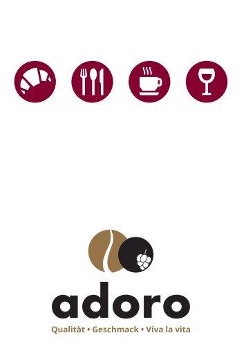 Die neue Speise- und Getränkekarte vom Adoro