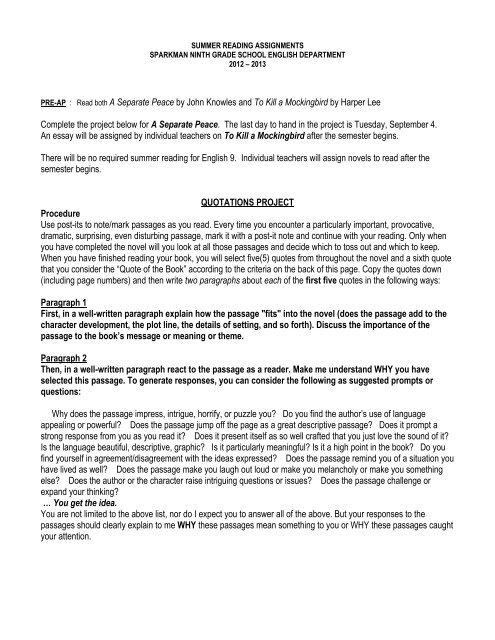 Grade 9 summer reading essay free resume finacle