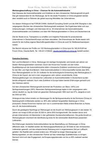 Werkzeugbeschaffung in China – Chancen für die ... - Forum China
