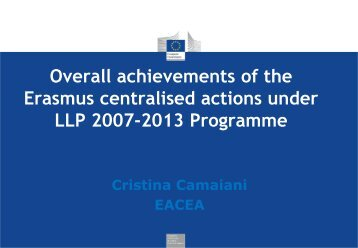 Overall achievements of the Erasmus centralised ... - Eracon.info