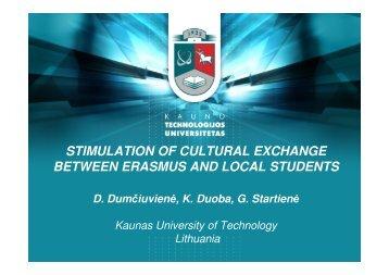 stimulation of cultural exchange between erasmus and ... - Eracon.info