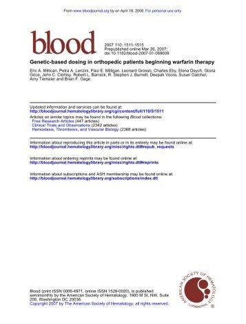Genetic-based dosing in orthopedic patients beginning warfarin ...
