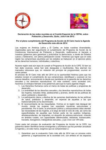 Accede aquí a la Declaración - Red Mujer y Hábitat de América Latina