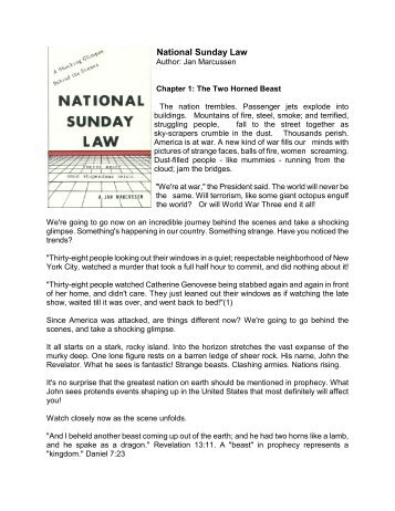 National Sunday Law - A New You Ministry