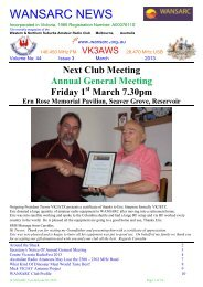 March - Western & Northern Suburbs Amateur Radio Club
