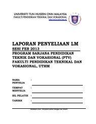 7_set borang laporan penyeliaan lm - FPTV - Universiti Tun Hussein ...