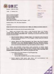 :MUNIVERSITI SAINS MALAYSIA I Memorandum - Jabatan Pendaftar