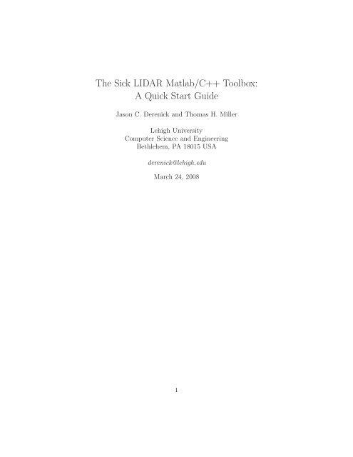 The Sick LIDAR Matlab/C++ Toolbox: A Quick Start Guide