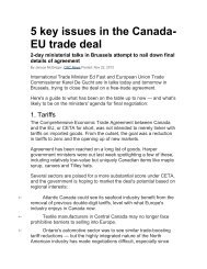 5 key issues in the Canada- EU trade deal