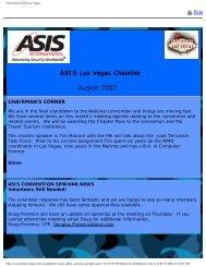 News from ASIS Las Vegas - the Las Vegas Chapter of ASIS ...
