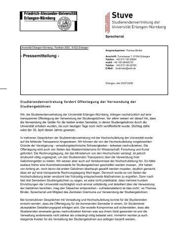 Pressemitteilung - Stuve Uni Erlangen-Nürnberg