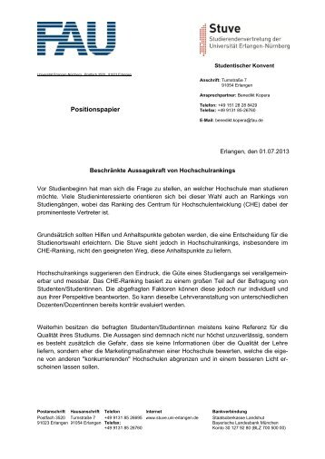 Beschränkte Aussagekraft von Hochschulrankings - Stuve Uni ...