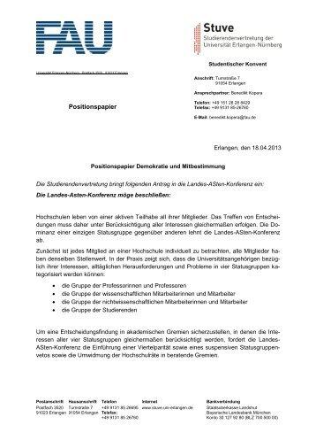 Demokratie und Mitbestimmung - Stuve Uni Erlangen-Nürnberg