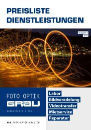PREISLISTE DIENSTLEISTUNGEN - Foto-Optik Grau