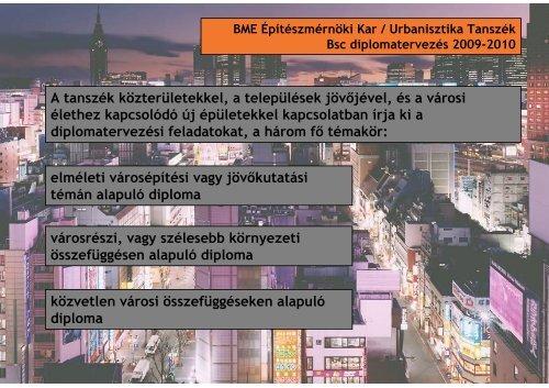 A tanszék közterületekkel, a települések jöv jével, és a városi ...