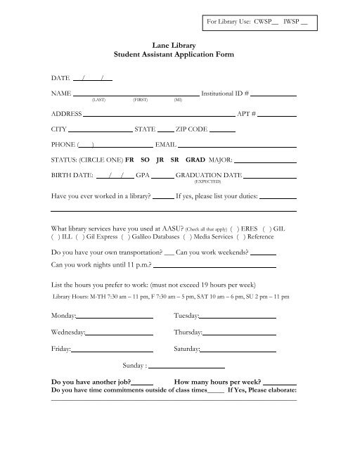 lane library student assistant application form
