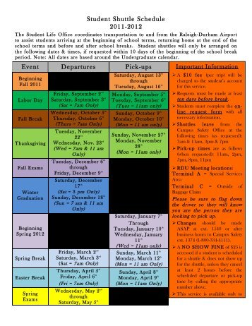 2011-2012 Shuttle Schedule :: Student Life