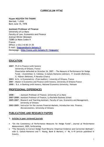 curriculum vitae education professional experiences publications ...