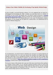 Enhance Your Online Visibility By Purchasing A Top Quality Website Design