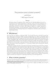 The generative power of feature geometry - Web word processing ...