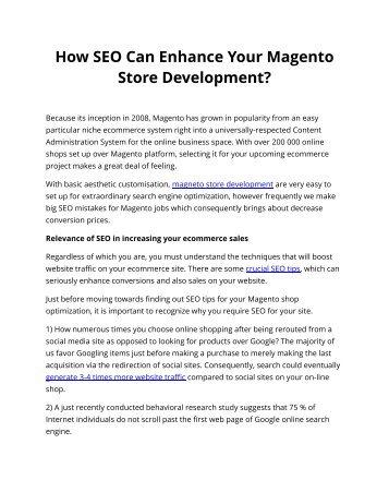 How SEO Can Enhance Your Magento Store Development?