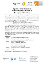 Regionales Klimaschutzkonzept für den Wirtschaftsraum Augsburg