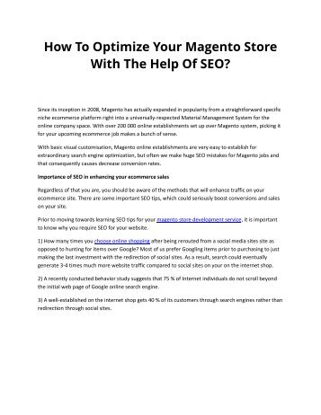 How To Optimize Your Magento Store With The Help Of SEO?