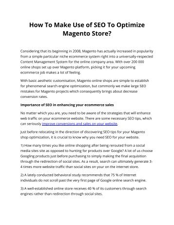 How To Make Use of SEO To Optimize Magento Store?