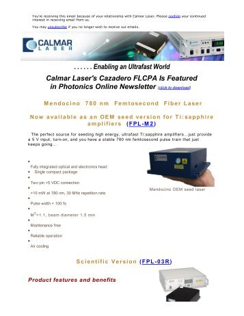 Featured Product at Photonics Online Newsletter - Calmar Laser