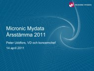 Presentation från bolagsstämma - Micronic Mydata