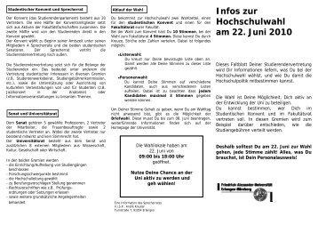 Infos zur Hochschulwahl am 22. Juni 2010 - Stuve Uni Erlangen ...