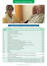 Preisliste Ambulante Pflege