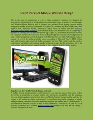 Secret Perks of Mobile Website Design
