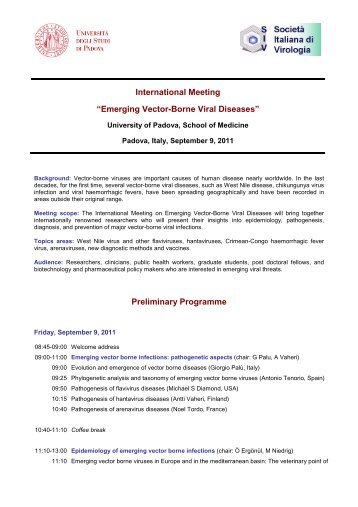 "International Meeting ""Emerging Vector-Borne Viral Diseases ... - SIV"