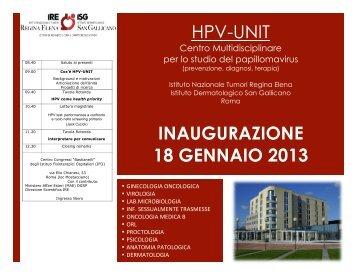 HPV-UNIT INAUGURAZIONE 18 GENNAIO 2013 - SIV