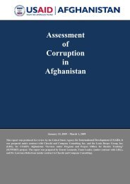 Assessment of Corruption in Afghanistan