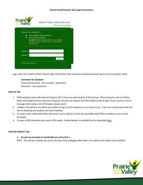 Login to a School Portal Site or Teacher Site