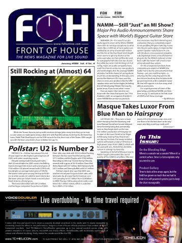 Pollstar: U2 is Number 2 - FOH Online