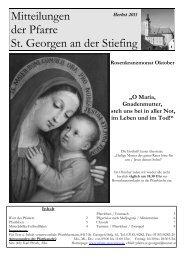 Pfarrnachrichten Herbst 2011 - Pfarre St. Georgen an der Stiefing