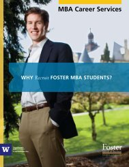 MBA Career Services - University of Washington Foster School of ...