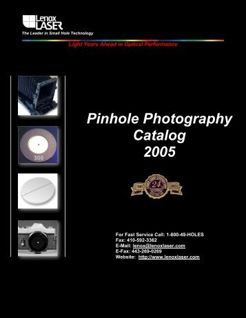 Pinhole Photography Catalog 2005 - Lenox Laser