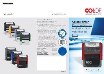 Colop Printer Personalisierung und Information von Kopf bis Fuss