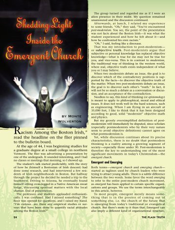 Shedding Light Inside the Emergent Church - Plain Truth Ministries