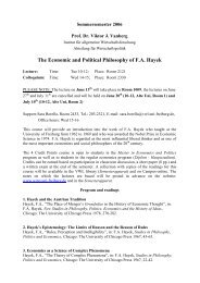 The Economic and Political Philosophy of F.A. Hayek - Abteilung für ...