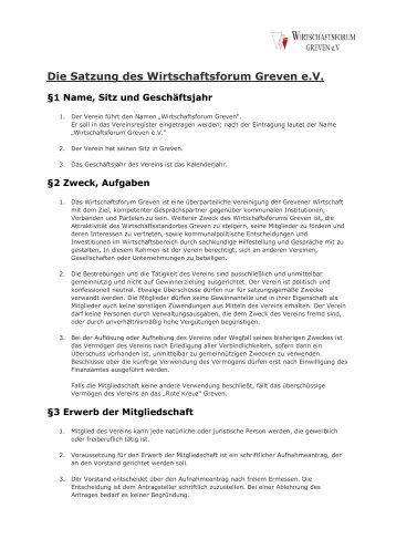 Die Satzung des Wirtschaftsforum Greven e.V.