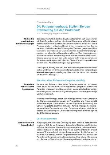 Die Patientenumfrage: Stellen Sie den ... - Dr. Wolfgang Huge