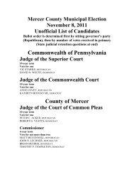 Mercer County Municipal Election November 8, 2011 Unofficial List ...