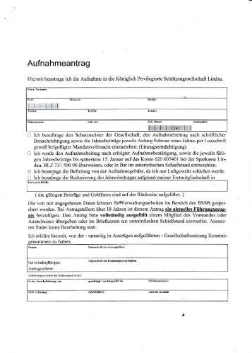 Aufnahmeantrag - Königlich Privilegierte Schützengesellschaft Lindau