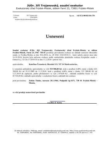 Usnesení dražební vyhlášku - Frýdek-Místek