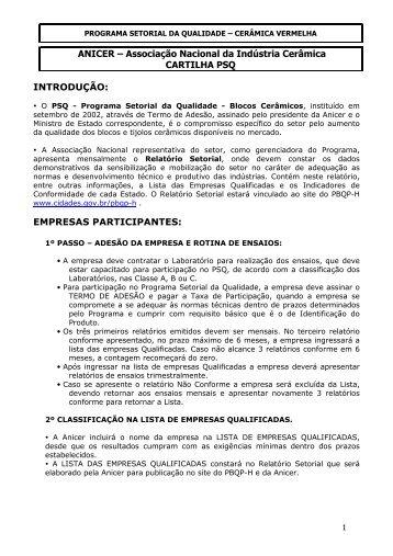 ANICER – Associação Nacional da Indústria Cerâmica CARTILHA ...